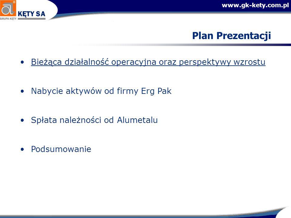 www.gk-kety.com.pl Znacząca poprawa w zakresie kapitału obrotowego Zmniejszenie poziomu należności przy wzrastającej sprzedaży Znacząca poprawa w zakresie zarządzania zapasami Poziom należnościPoziom zapasów Sprzedaż +13% -3% -16%