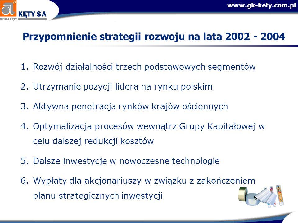 www.gk-kety.com.pl Przypomnienie strategii rozwoju na lata 2002 - 2004 1.Rozwój działalności trzech podstawowych segmentów 2.Utrzymanie pozycji lidera