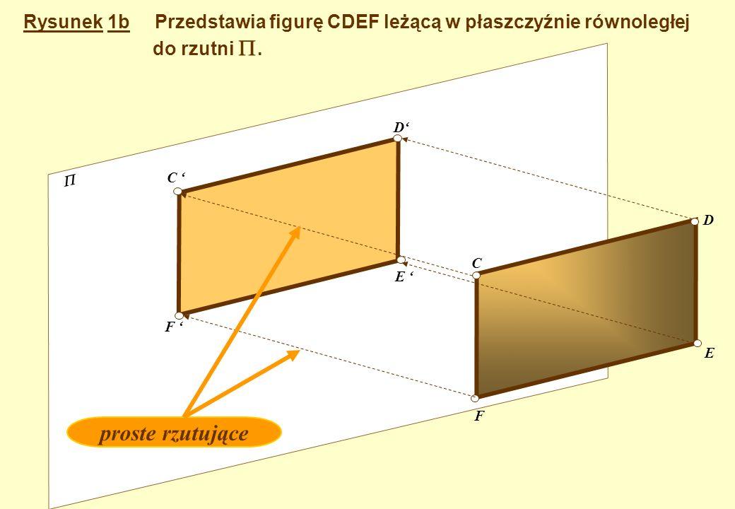 Rysunek 1a Przedstawia odcinek AB leżący w płaszczyźnie równoległej do rzutni. A' B' A B Rzuty punktów punkty proste rzutujące