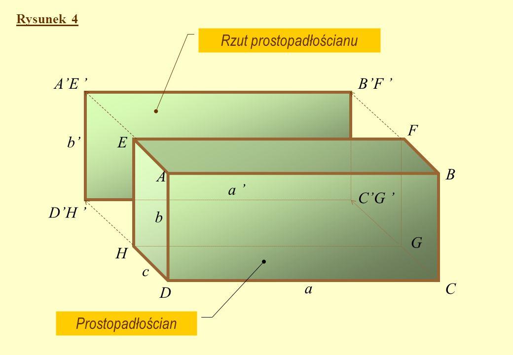 Rozpatrzmy rzutowanie brył geometrycznych Rysunek 4 - przedstawia rzutowanie prostopadłościanu o krawędziach a, b i c.