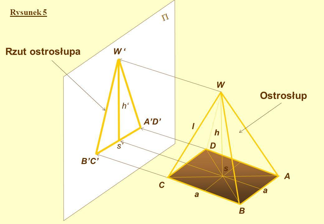 Rzut ostrosłupa kwadratowego prostego Rysunek 5 - przedstawia rzutowanie ostrosłupa kwadratowego prostego, ustawionego tak, że jego wysokość WS i dwa