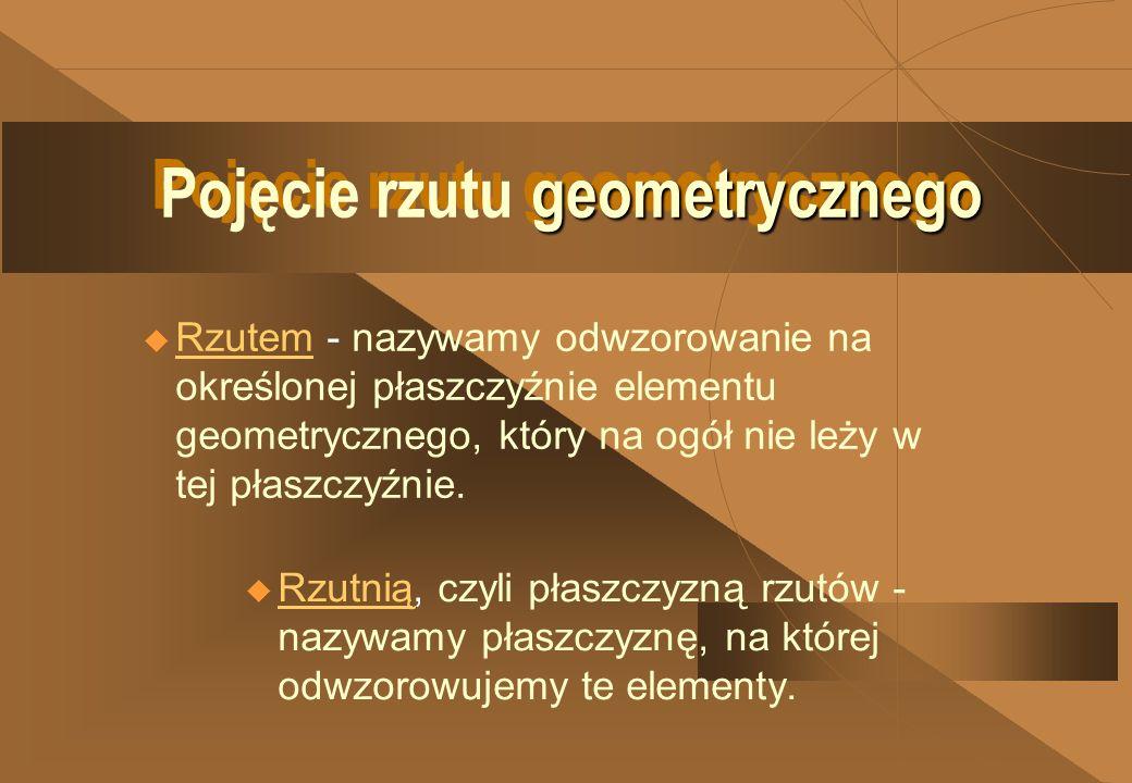 geometrycznego Pojęcie rzutu geometrycznego Pojęcie rzutu geometrycznego u Rzutem - nazywamy odwzorowanie na określonej płaszczyźnie elementu geometrycznego, który na ogół nie leży w tej płaszczyźnie.