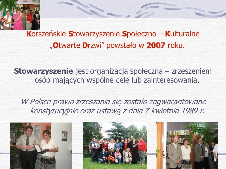 KSSK OD2007 Korszeńskie Stowarzyszenie Społeczno – KulturalneOtwarte Drzwi powstało w 2007 roku. Stowarzyszenie jest organizacją społeczną – zrzeszeni