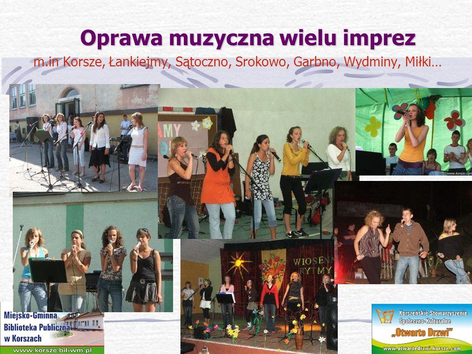 Oprawa muzyczna wielu imprez Oprawa muzyczna wielu imprez m.in Korsze, Łankiejmy, Sątoczno, Srokowo, Garbno, Wydminy, Miłki…