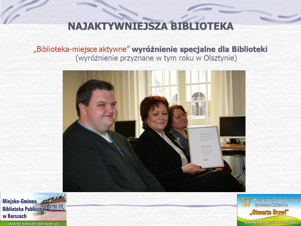 NAJAKTYWNIEJSZA BIBLIOTEKA wyróżnienie specjalne dla Biblioteki Biblioteka-miejsce aktywne wyróżnienie specjalne dla Biblioteki (wyróżnienie przyznane