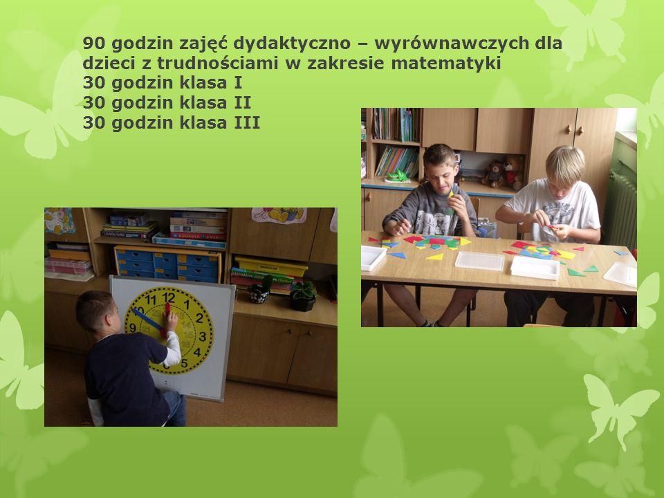 90 godzin zajęć dydaktyczno – wyrównawczych dla dzieci z trudnościami w zakresie czytania i pisania 30 godzin klasa I 30 godzin klasa II 30 godzin kla