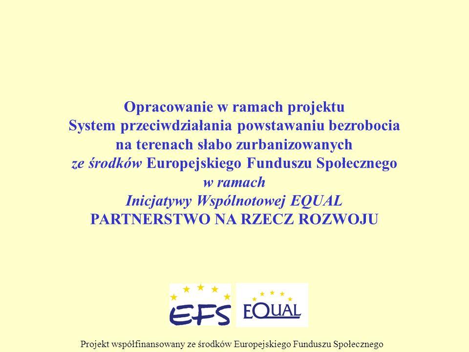 Opracowanie w ramach projektu System przeciwdziałania powstawaniu bezrobocia na terenach słabo zurbanizowanych ze środków Europejskiego Funduszu Społe