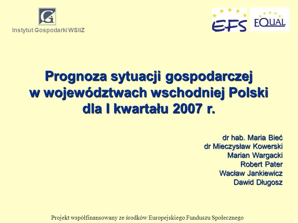Prognoza sytuacji gospodarczej w województwach wschodniej Polski dla I kwartału 2007 r. dr hab. Maria Bieć dr Mieczysław Kowerski Marian Wargacki Robe