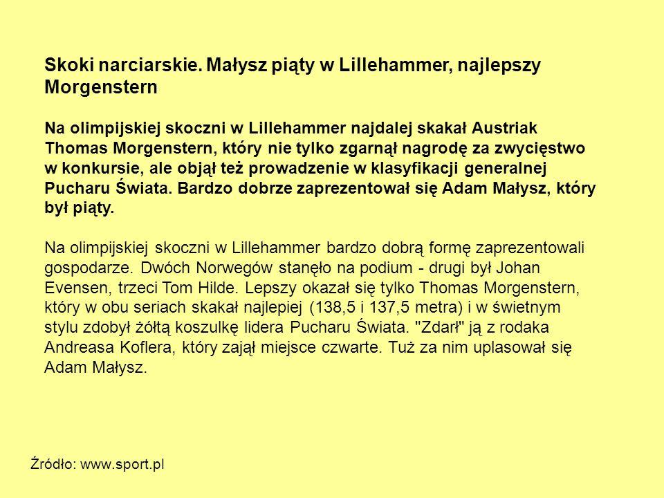 Skoki narciarskie. Małysz piąty w Lillehammer, najlepszy Morgenstern Na olimpijskiej skoczni w Lillehammer najdalej skakał Austriak Thomas Morgenstern