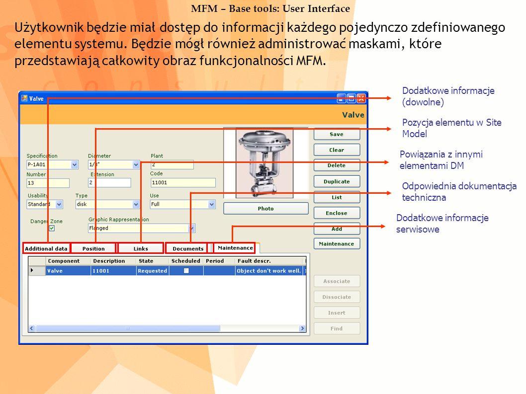 MFM – Base tools: User Interface Użytkownik będzie miał dostęp do informacji każdego pojedynczo zdefiniowanego elementu systemu.
