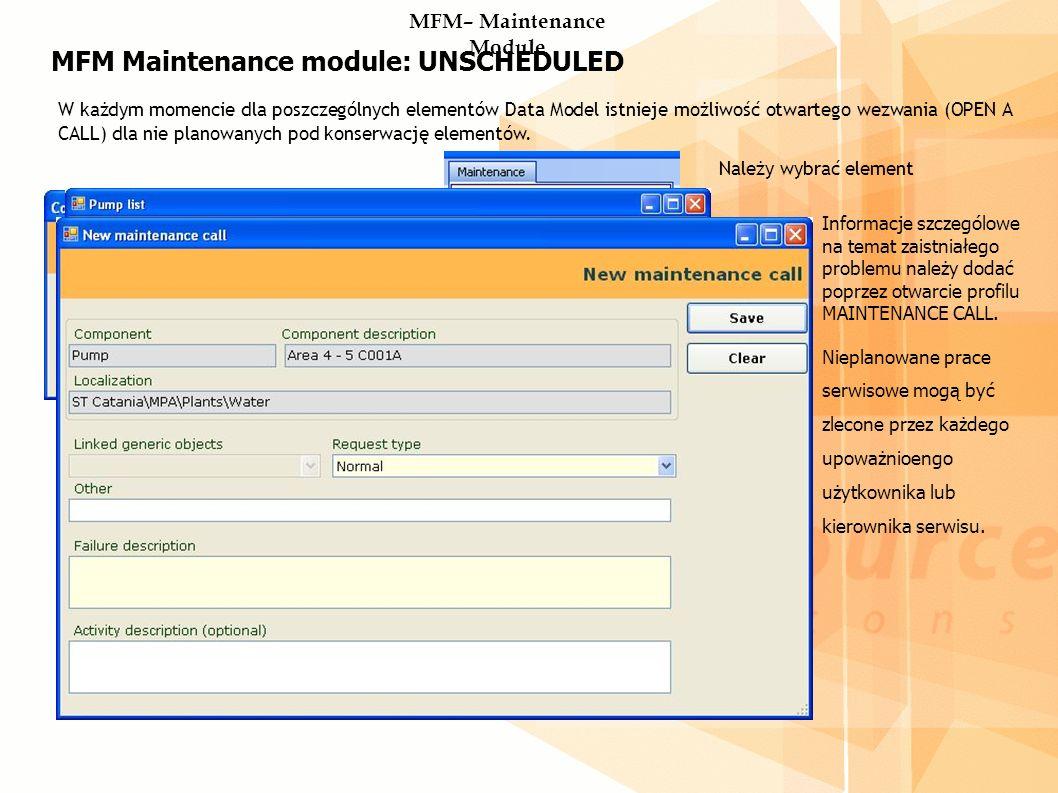 MFM Maintenance module: UNSCHEDULED W każdym momencie dla poszczególnych elementów Data Model istnieje możliwość otwartego wezwania (OPEN A CALL) dla nie planowanych pod konserwację elementów.