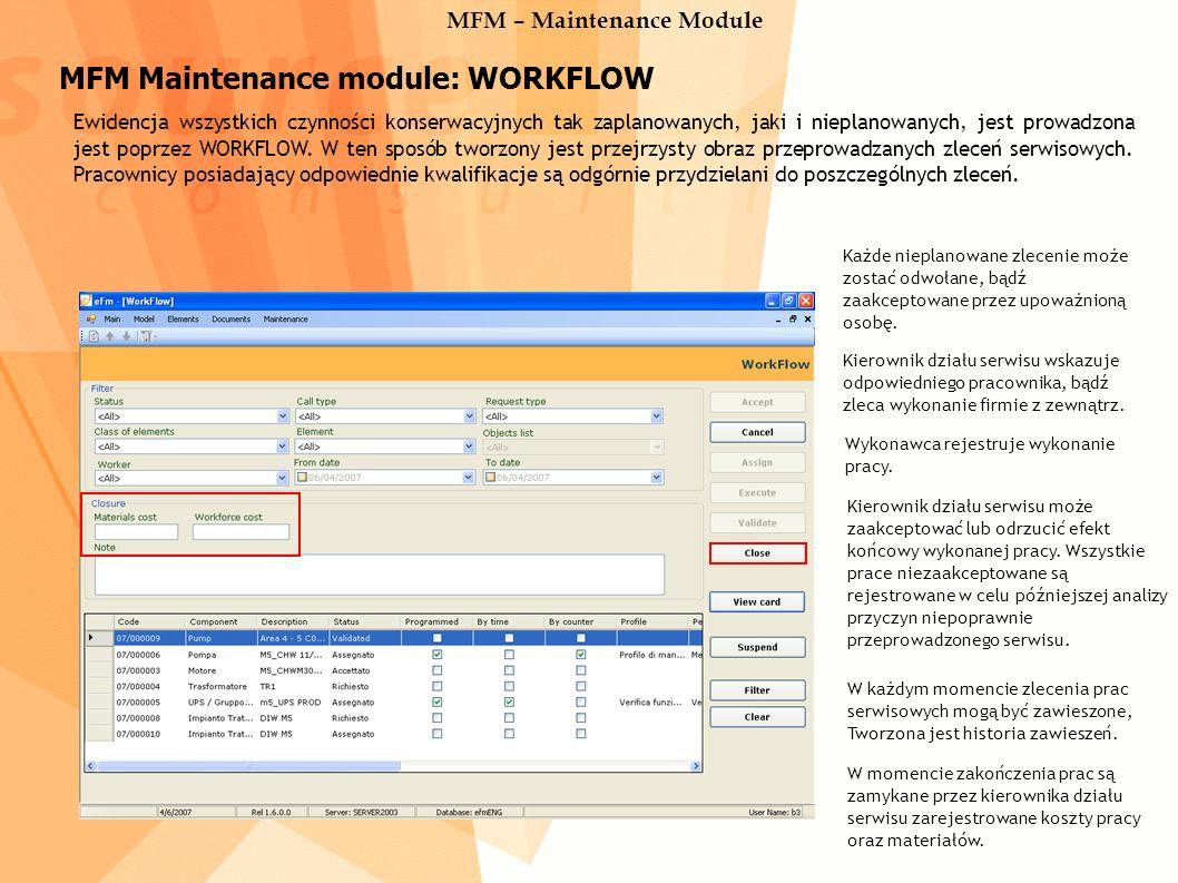 MFM Maintenance module: WORKFLOW Ewidencja wszystkich czynności konserwacyjnych tak zaplanowanych, jaki i nieplanowanych, jest prowadzona jest poprzez WORKFLOW.