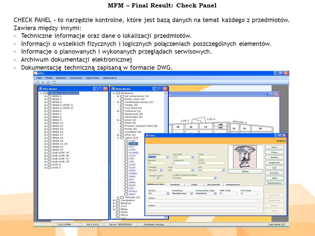 MFM – Final Result: Check Panel CHECK PANEL – to narzędzie kontrolne, które jest bazą danych na temat każdego z przedmiotów.