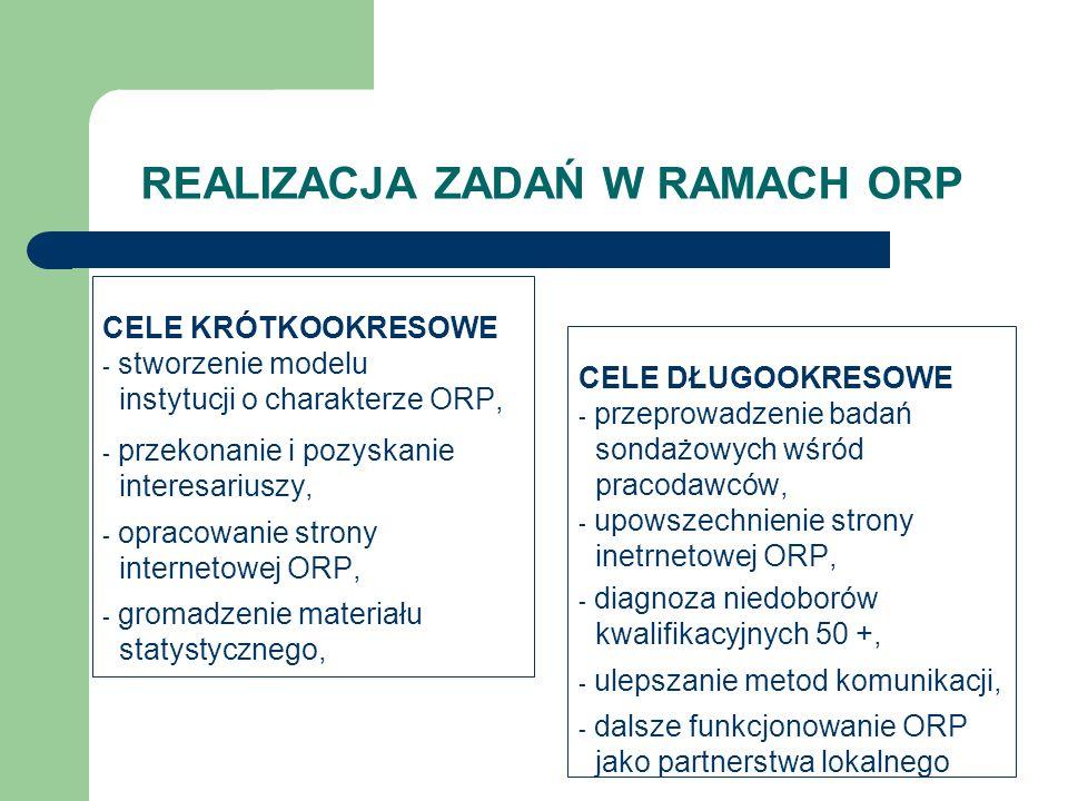 REALIZACJA ZADAŃ W RAMACH ORP CELE DŁUGOOKRESOWE - przeprowadzenie badań sondażowych wśród pracodawców, - upowszechnienie strony inetrnetowej ORP, - d