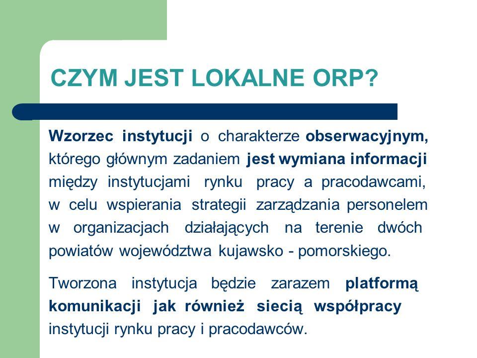 CZYM JEST LOKALNE ORP? Wzorzec instytucji o charakterze obserwacyjnym, którego głównym zadaniem jest wymiana informacji między instytucjami rynku prac