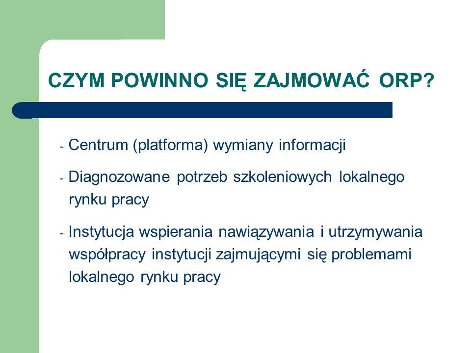 CZYM POWINNO SIĘ ZAJMOWAĆ ORP? - Centrum (platforma) wymiany informacji - Diagnozowane potrzeb szkoleniowych lokalnego rynku pracy - Instytucja wspier