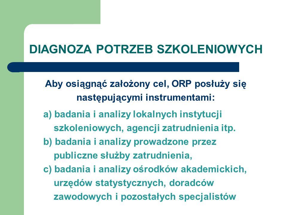DIAGNOZA POTRZEB SZKOLENIOWYCH Aby osiągnąć założony cel, ORP posłuży się następującymi instrumentami: a) badania i analizy lokalnych instytucji szkol