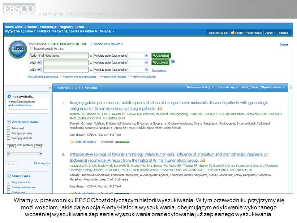 Witamy w przewodniku EBSCOhost dotyczącym historii wyszukiwania.