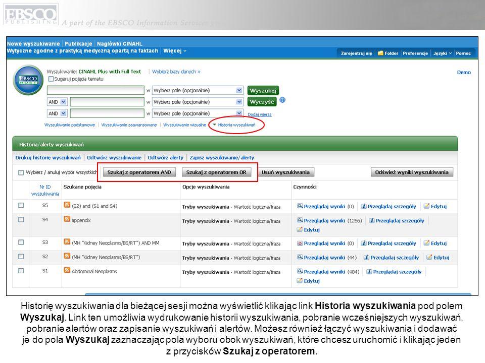 Historię wyszukiwania dla bieżącej sesji można wyświetlić klikając link Historia wyszukiwania pod polem Wyszukaj.