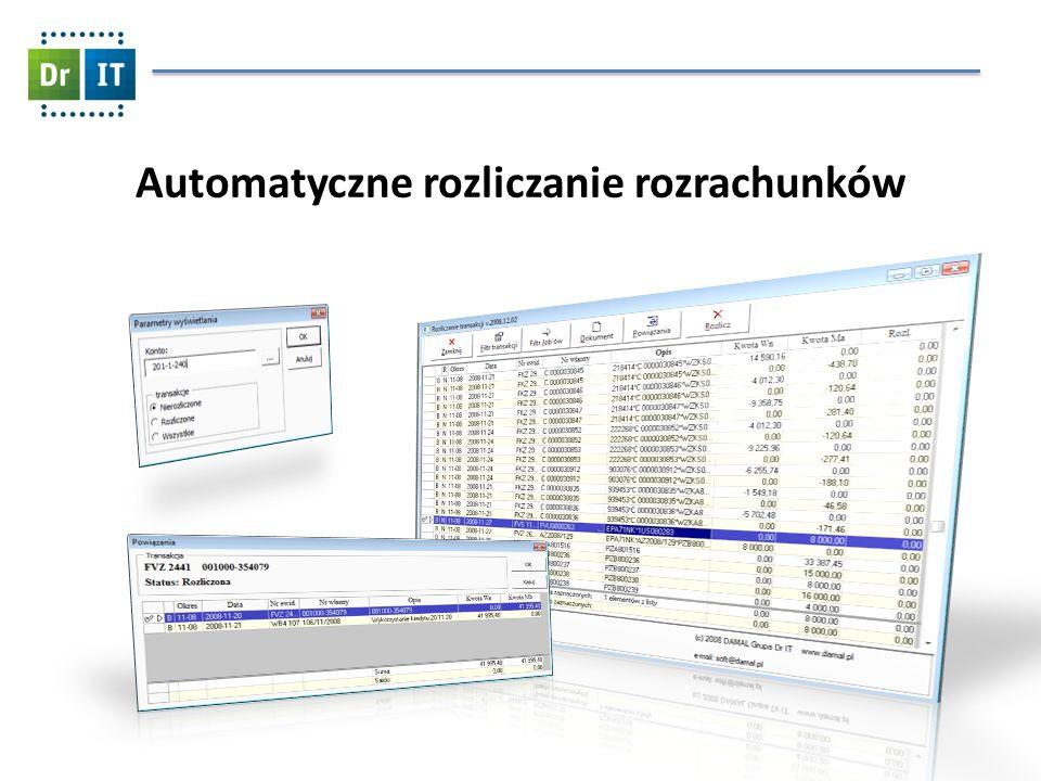 Automatyczne rozliczanie rozrachunków Funkcjonalność zautomatyzowanie rozliczania/parowania rozrachunków rozbudowany filtr rozrachunków automatyczne rozliczanie wg.