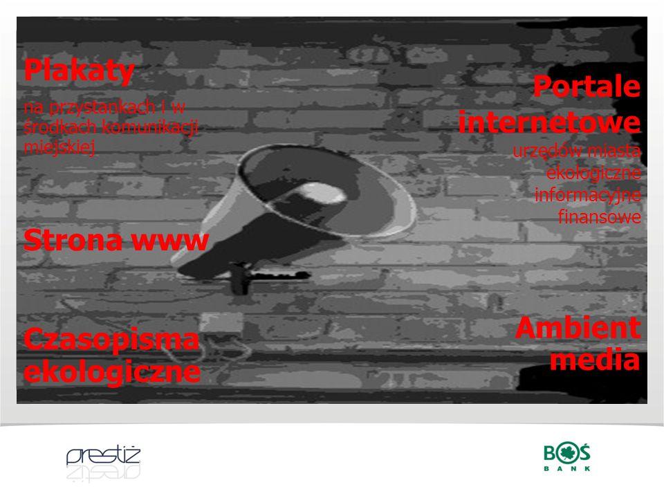 Portale internetowe urzędów miasta ekologiczne informacyjne finansowe Ambient media Plakaty na przystankach i w środkach komunikacji miejskiej Strona
