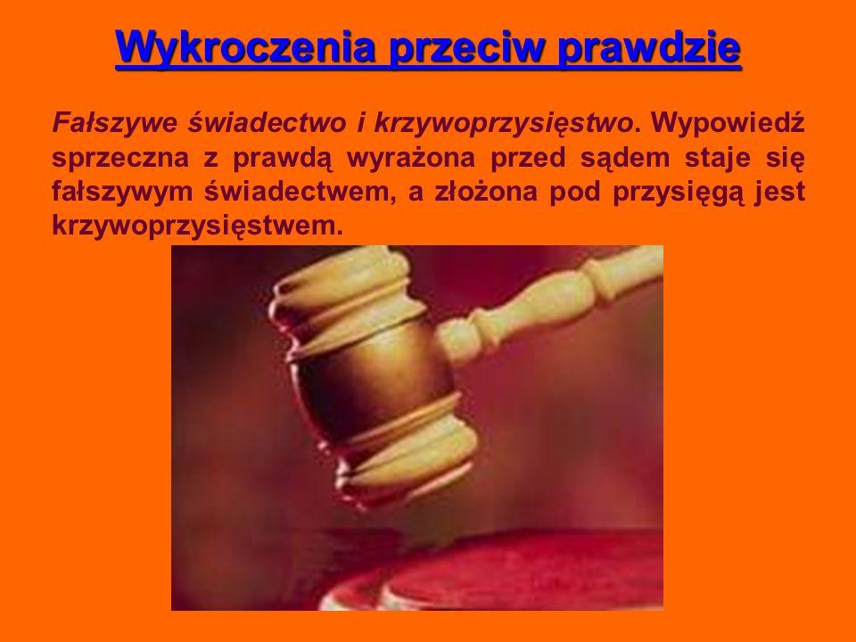 Wykroczenia przeciw prawdzie Fałszywe świadectwo i krzywoprzysięstwo. Wypowiedź sprzeczna z prawdą wyrażona przed sądem staje się fałszywym świadectwe