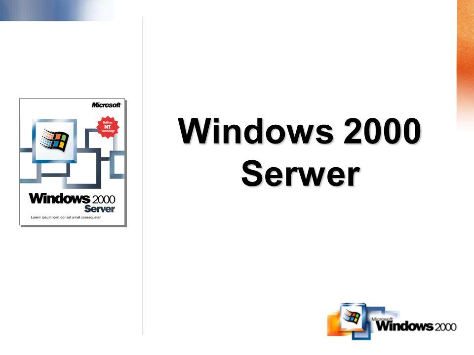 Rodzina Serwerów Windows 2000 Wszystkie Wersje Zawierają –Active Directory, IntelliMirror, Security services –Terminal Services –COM+, IIS 5.0, Indexing Windows 2000 Server –4-way SMP –4 GB RAM Windows 2000 Advanced Server –8-way SMP –8 GB RAM –2-węzłowy klaster, WLBS Windows 2000 Datacenter Server –Up to 32-way SMP –Aż do 64GB RAM –4-węzłowy klaster –Process Control Manager