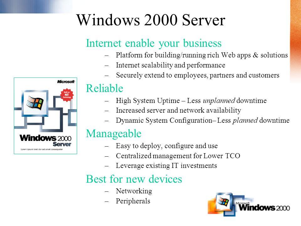 Windows 2000 Server Tego oczekiwałem Bardziej niezawodny Mniej restartów Active Directory –IntelliMirror –Delegacja praw Administratorów Usługi Terminalowe Podstawa Web Serwera