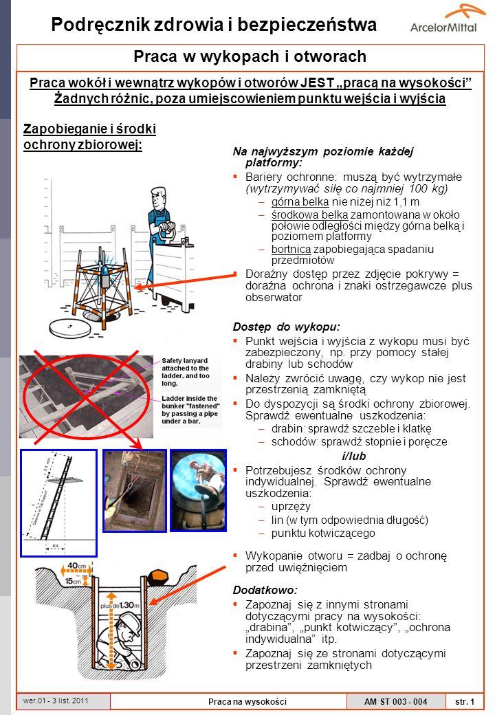 AM ST 003 - 004 Podręcznik zdrowia i bezpieczeństwa str. 1 wer.01 - 3 list. 2011 Praca na wysokości Praca w wykopach i otworach Praca wokół i wewnątrz