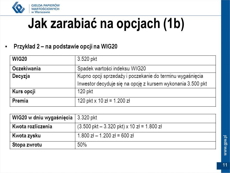 11 Jak zarabiać na opcjach (1b) Przykład 2 – na podstawie opcji na WIG20 WIG20 3.520 pkt Oczekiwania Spadek wartości indeksu WIG20 Decyzja Kupno opcji
