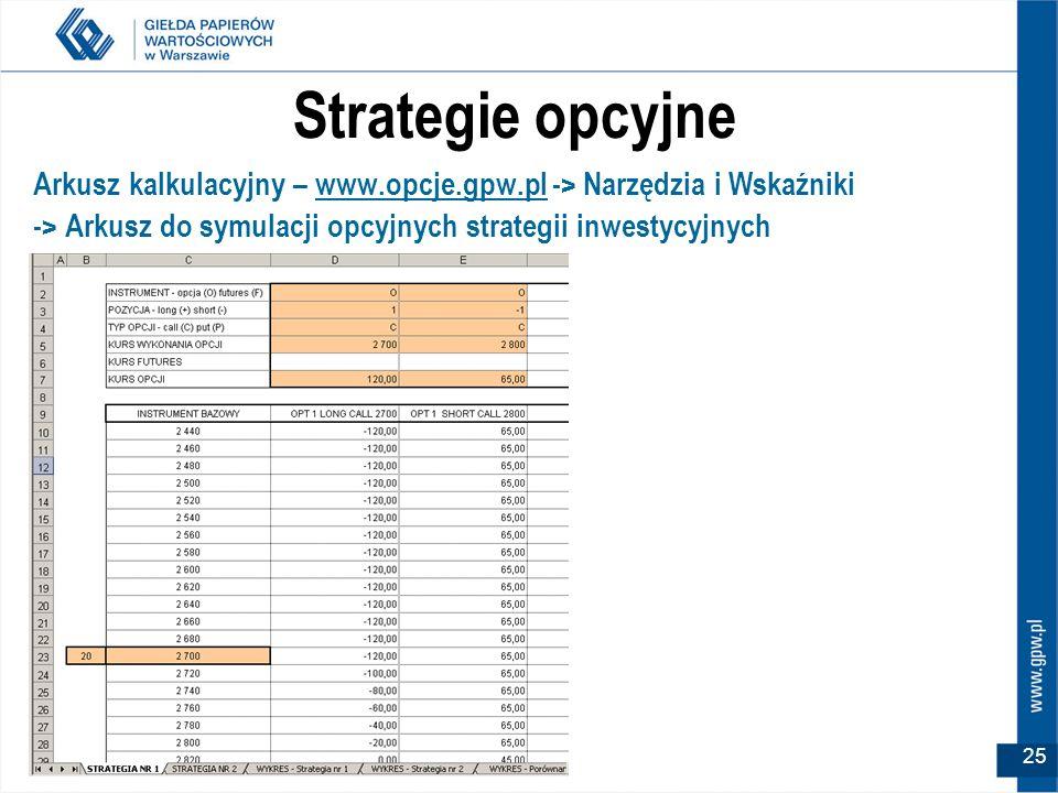 25 Strategie opcyjne Arkusz kalkulacyjny – www.opcje.gpw.pl -> Narzędzia i Wskaźniki -> Arkusz do symulacji opcyjnych strategii inwestycyjnych