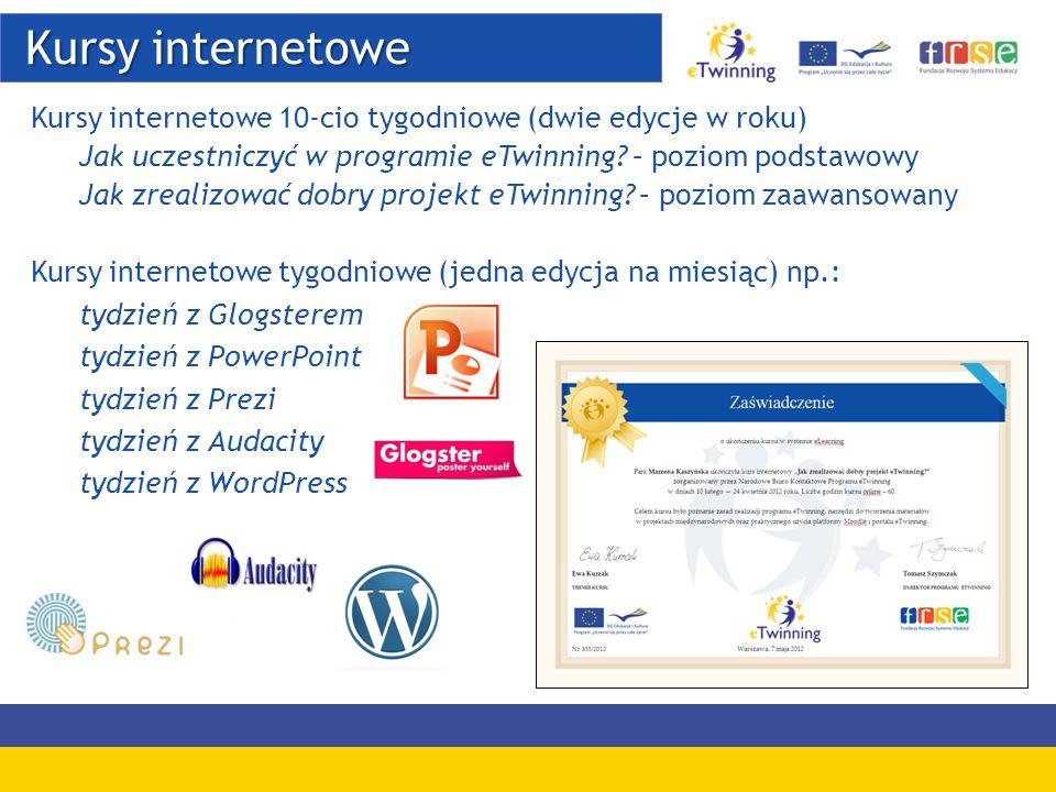 Kursy internetowe Kursy internetowe Kursy internetowe 10-cio tygodniowe (dwie edycje w roku) Jak uczestniczyć w programie eTwinning? – poziom podstawo