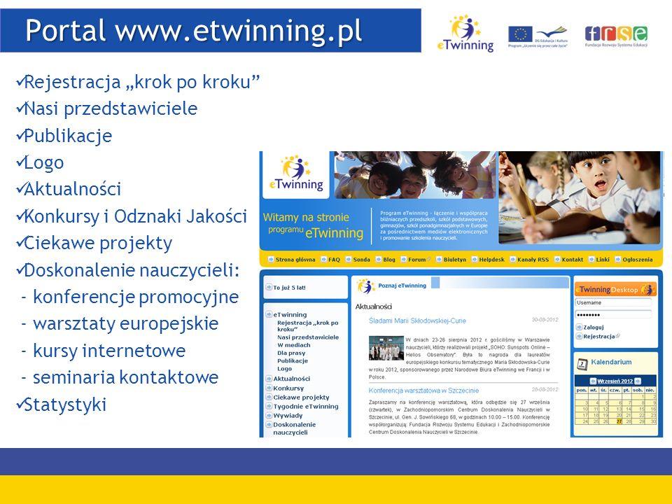 Portal www.etwinning.pl Portal www.etwinning.pl Rejestracja krok po kroku Nasi przedstawiciele Publikacje Logo Aktualności Konkursy i Odznaki Jakości