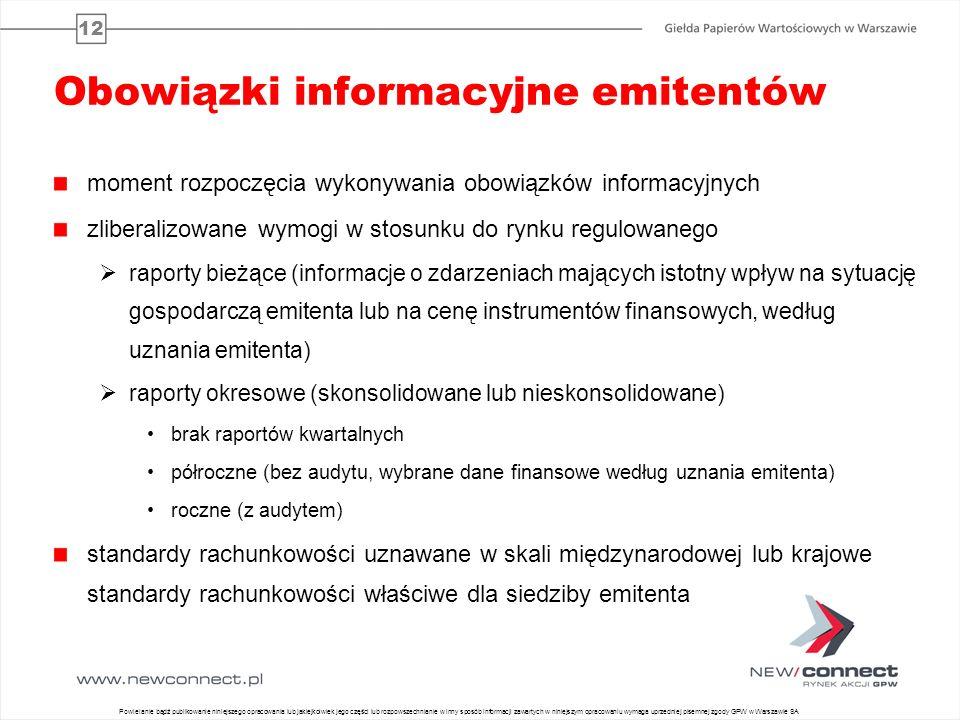 12 Obowiązki informacyjne emitentów moment rozpoczęcia wykonywania obowiązków informacyjnych zliberalizowane wymogi w stosunku do rynku regulowanego r