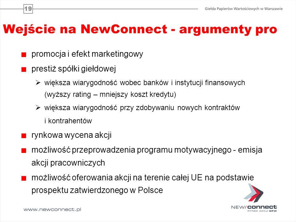 19 Wejście na NewConnect - argumenty pro promocja i efekt marketingowy prestiż spółki giełdowej większa wiarygodność wobec banków i instytucji finanso