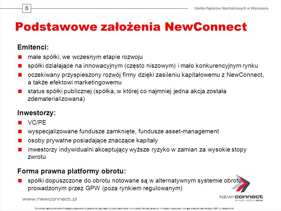 5 Podstawowe założenia NewConnect Emitenci: małe spółki, we wczesnym etapie rozwoju spółki działające na innowacyjnym (często niszowym) i mało konkure