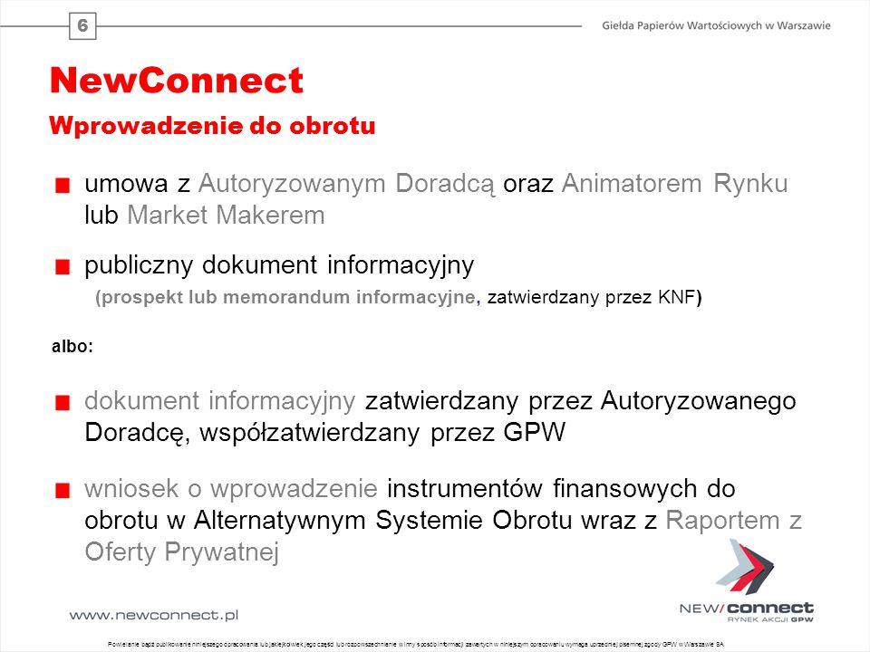 6 NewConnect Wprowadzenie do obrotu umowa z Autoryzowanym Doradcą oraz Animatorem Rynku lub Market Makerem publiczny dokument informacyjny (prospekt l
