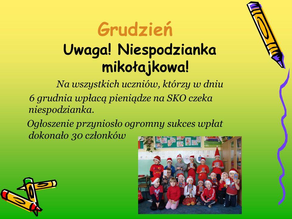 Grudzień Uwaga! Niespodzianka mikołajkowa! Na wszystkich uczniów, którzy w dniu 6 grudnia wpłacą pieniądze na SKO czeka niespodzianka. Ogłoszenie przy