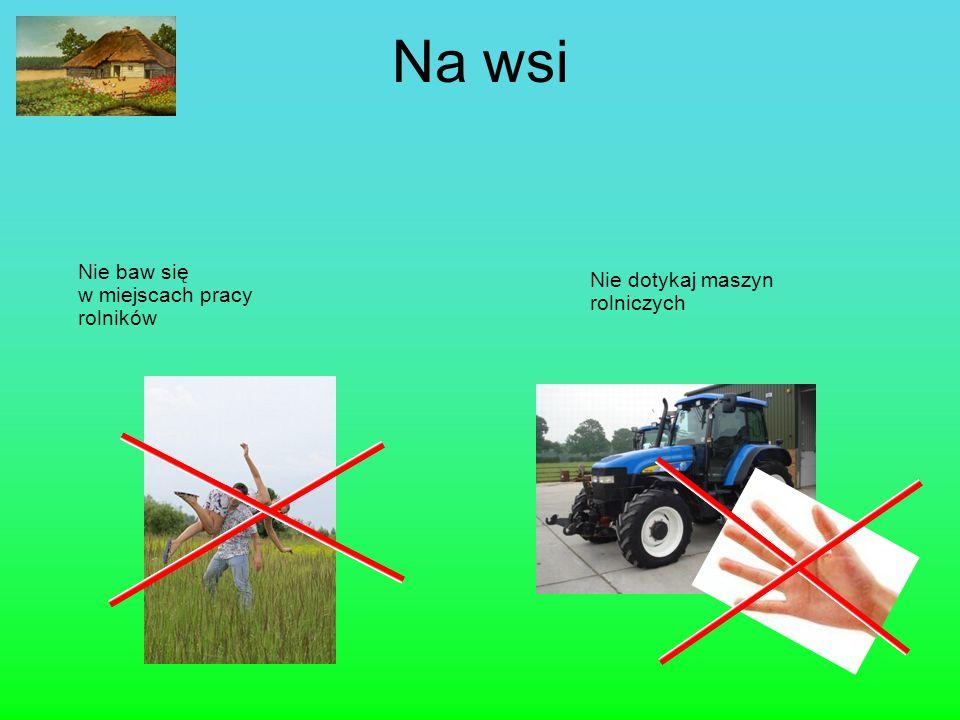 Na wsi Nie baw się w miejscach pracy rolników Nie dotykaj maszyn rolniczych