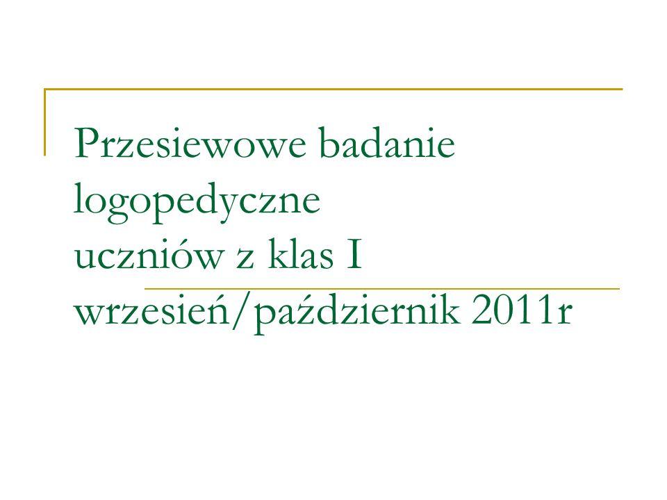Przesiewowe badanie logopedyczne uczniów z klas I wrzesień/październik 2011r