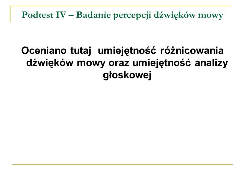 Podtest IV – Badanie percepcji dźwięków mowy Oceniano tutaj umiejętność różnicowania dźwięków mowy oraz umiejętność analizy głoskowej