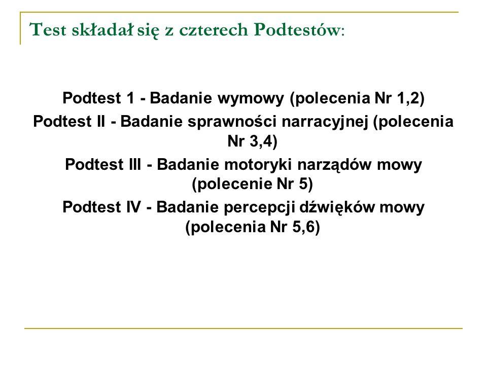 Test składał się z czterech Podtestów: Podtest 1 - Badanie wymowy (polecenia Nr 1,2) Podtest II - Badanie sprawności narracyjnej (polecenia Nr 3,4) Podtest III - Badanie motoryki narządów mowy (polecenie Nr 5) Podtest IV - Badanie percepcji dźwięków mowy (polecenia Nr 5,6)