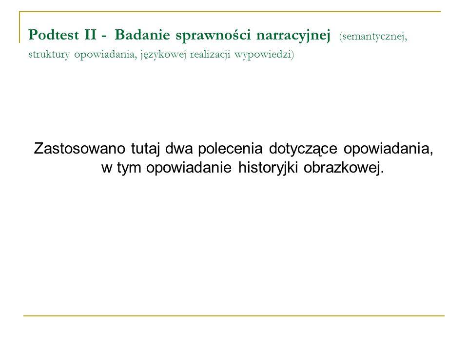 Podtest II - Badanie sprawności narracyjnej (semantycznej, struktury opowiadania, językowej realizacji wypowiedzi) Zastosowano tutaj dwa polecenia dot