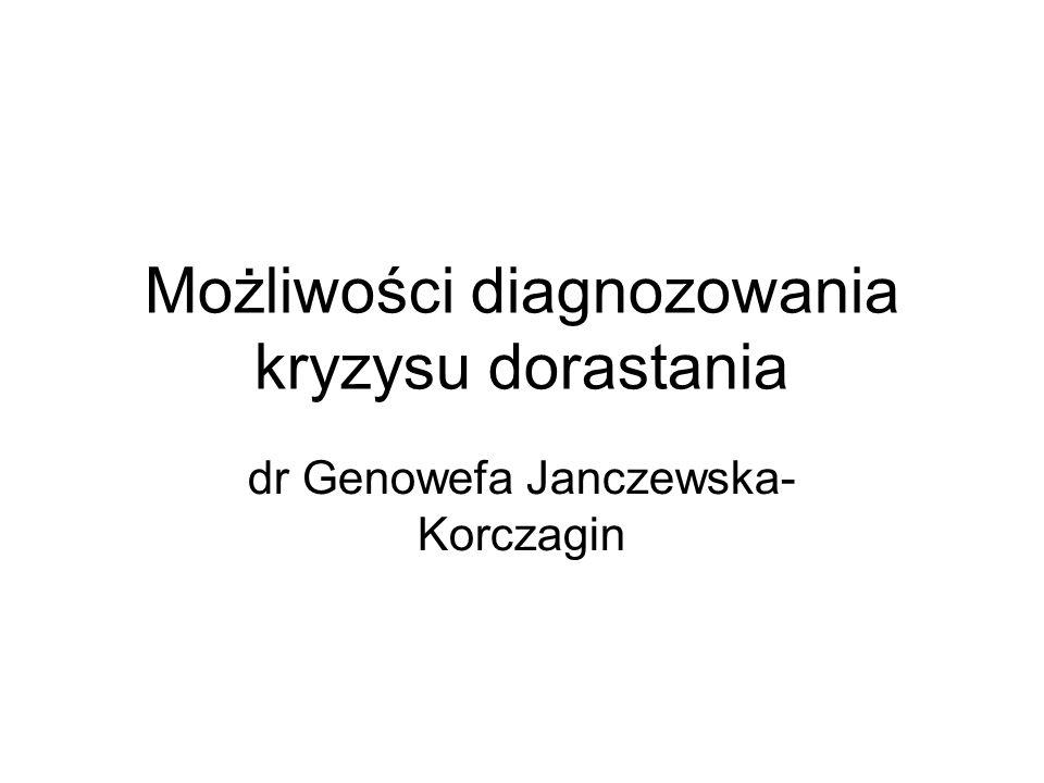 Możliwości diagnozowania kryzysu dorastania dr Genowefa Janczewska- Korczagin