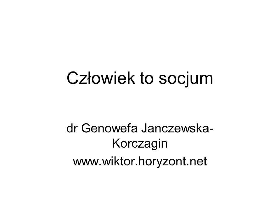 Człowiek to socjum dr Genowefa Janczewska- Korczagin www.wiktor.horyzont.net
