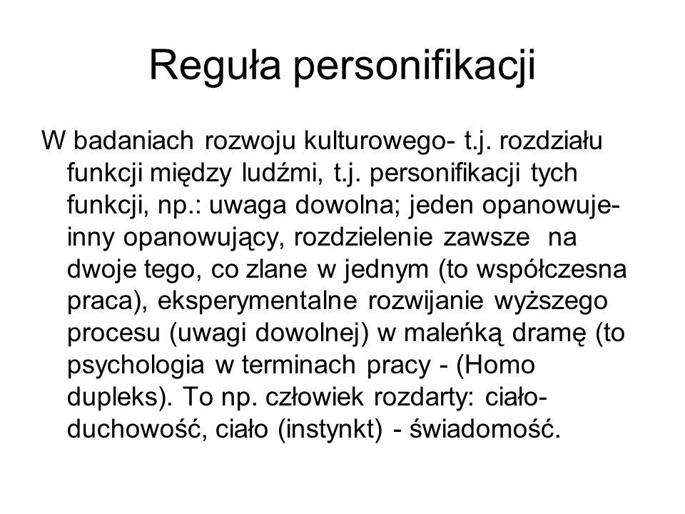 Reguła personifikacji W badaniach rozwoju kulturowego- t.j. rozdziału funkcji między ludźmi, t.j. personifikacji tych funkcji, np.: uwaga dowolna; jed