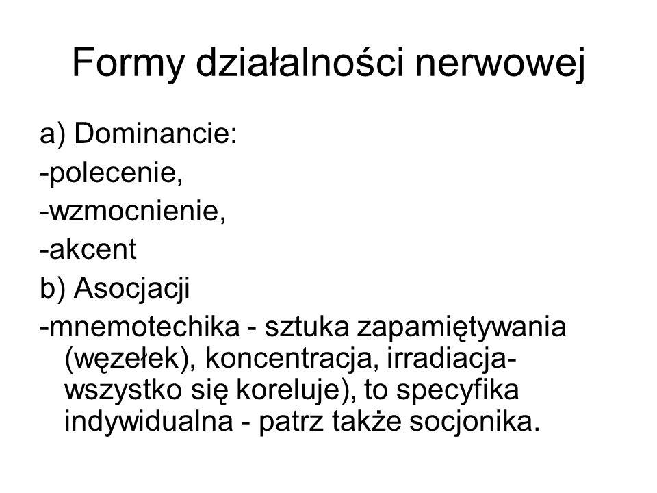 Formy działalności nerwowej a) Dominancie: -polecenie, -wzmocnienie, -akcent b) Asocjacji -mnemotechika - sztuka zapamiętywania (węzełek), koncentracj