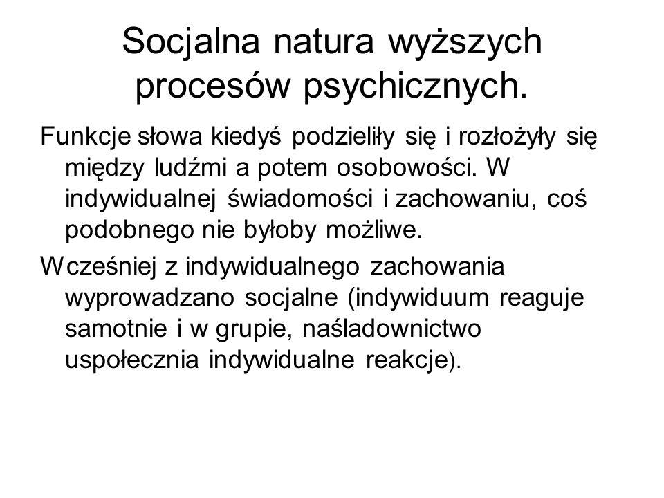 Socjalna natura wyższych procesów psychicznych. Funkcje słowa kiedyś podzieliły się i rozłożyły się między ludźmi a potem osobowości. W indywidualnej