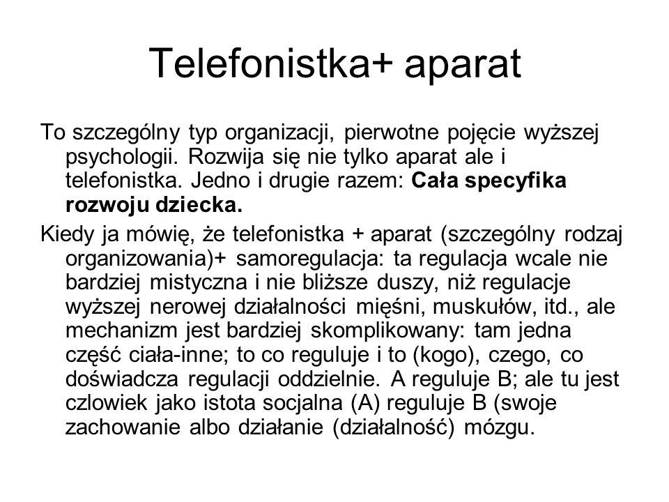 Telefonistka+ aparat To szczególny typ organizacji, pierwotne pojęcie wyższej psychologii. Rozwija się nie tylko aparat ale i telefonistka. Jedno i dr