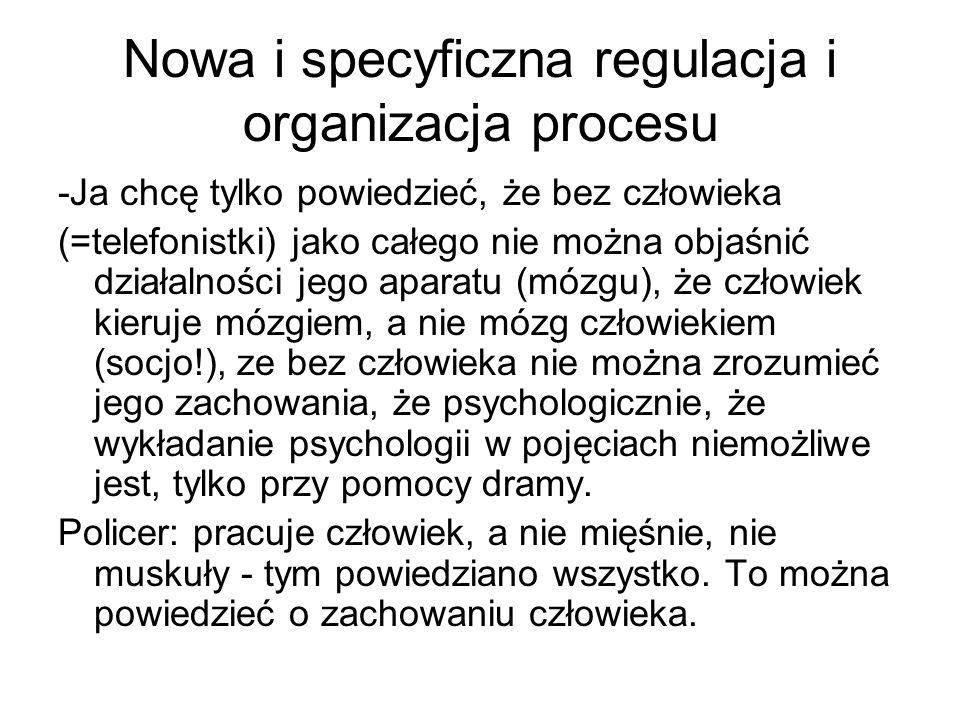 Nowa i specyficzna regulacja i organizacja procesu -Ja chcę tylko powiedzieć, że bez człowieka (=telefonistki) jako całego nie można objaśnić działaln